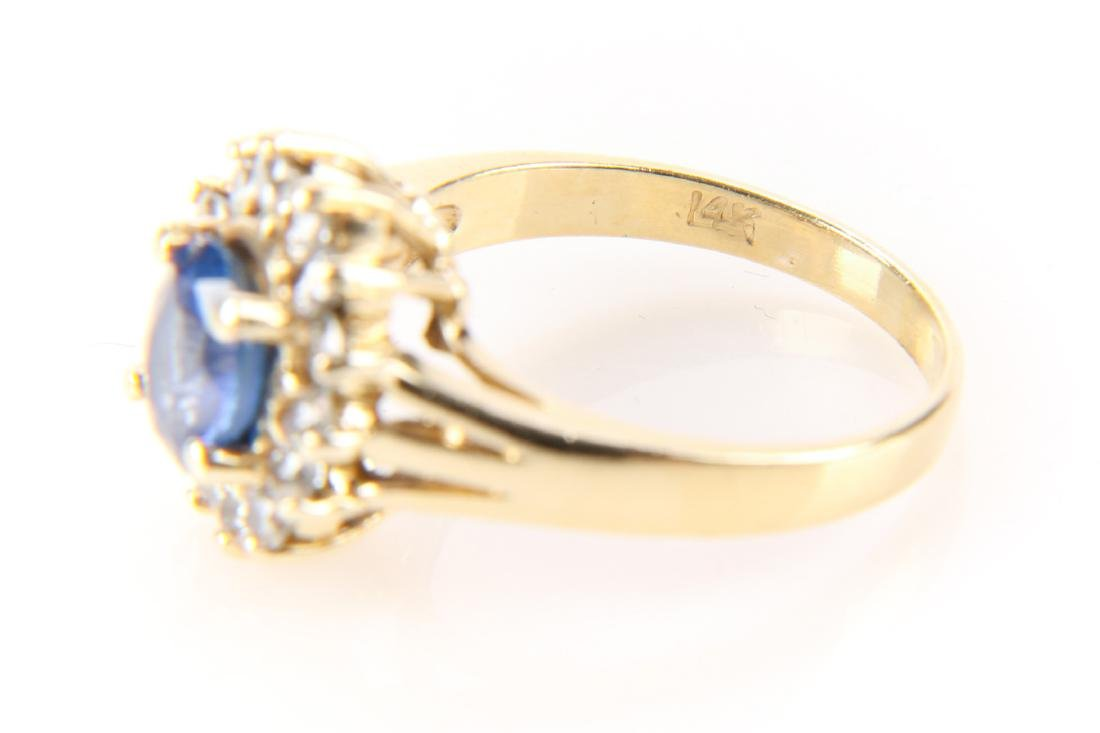 14K Gold, Sapphire And Diamond Ring - 3