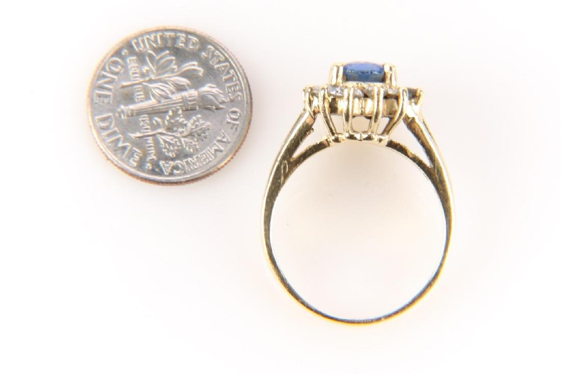 14K Gold, Sapphire And Diamond Ring - 4