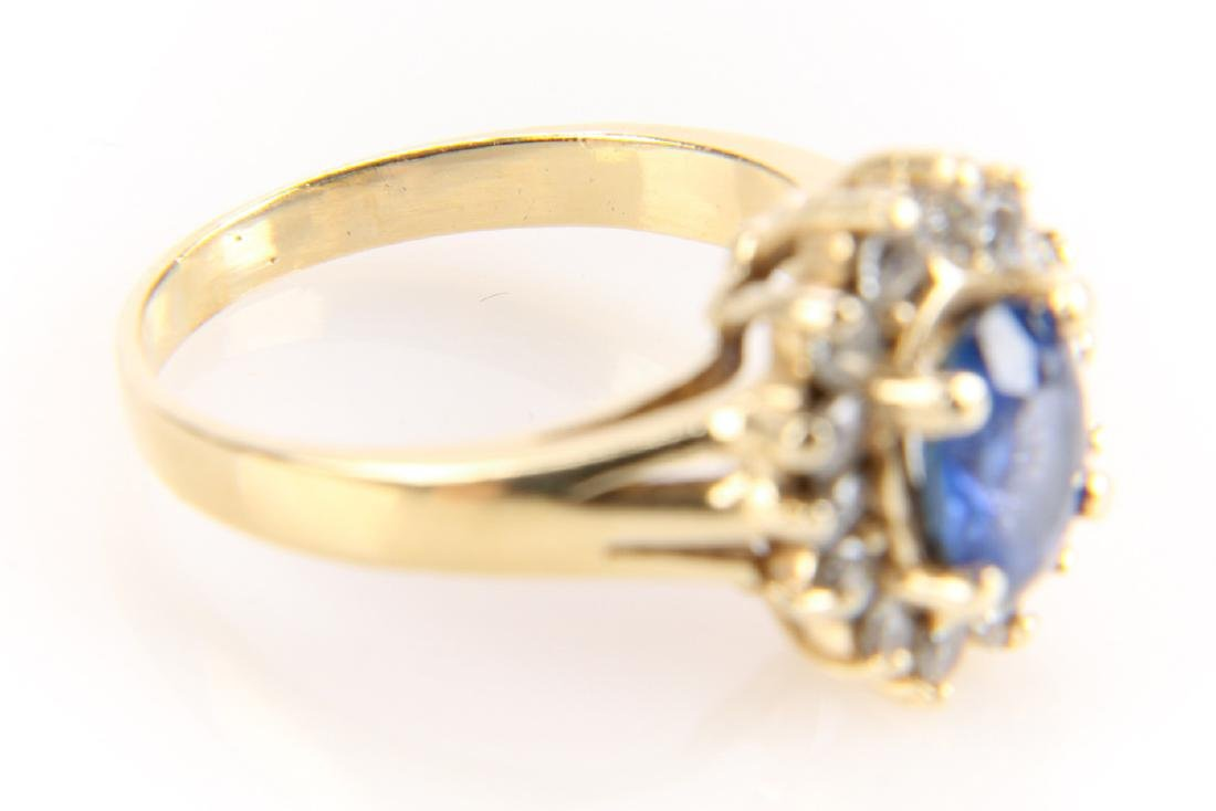14K Gold, Sapphire And Diamond Ring - 5