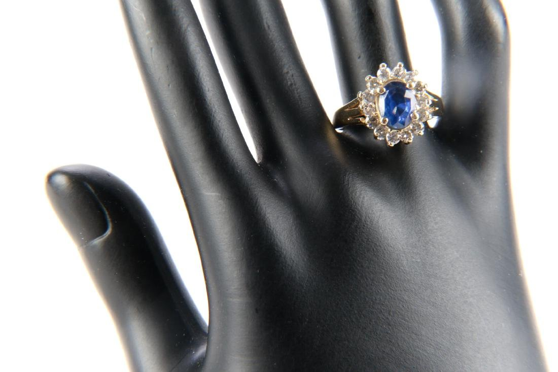 14K Gold, Sapphire And Diamond Ring - 8