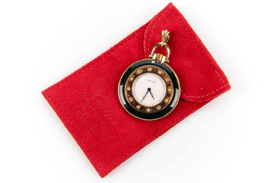 18K Gold, Bloodstone And Ruby Pocket Watch, By Cartier