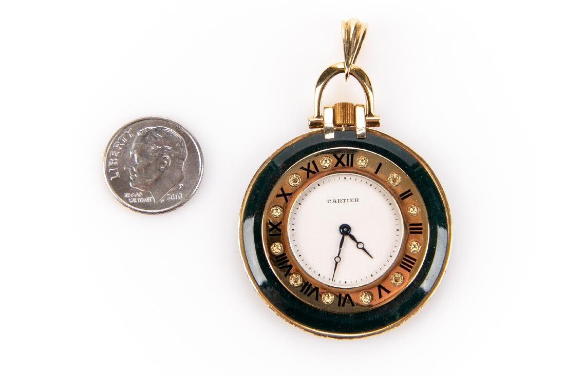 18K Gold, Bloodstone And Ruby Pocket Watch, By Cartier - 3