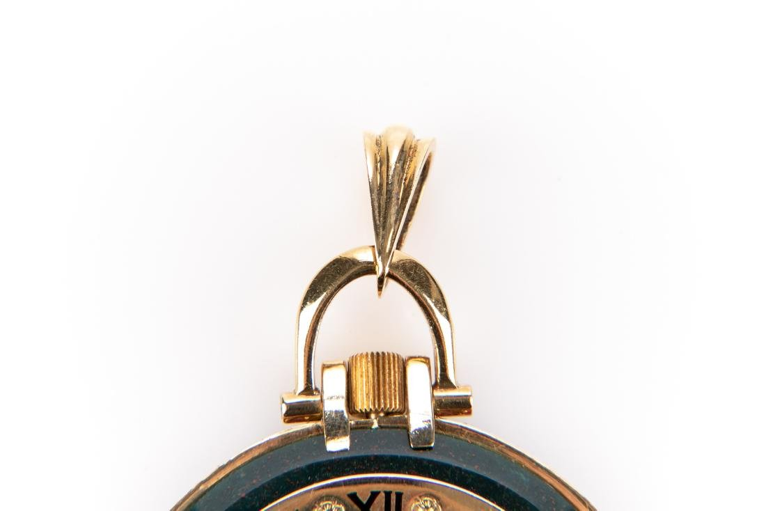 18K Gold, Bloodstone And Ruby Pocket Watch, By Cartier - 4