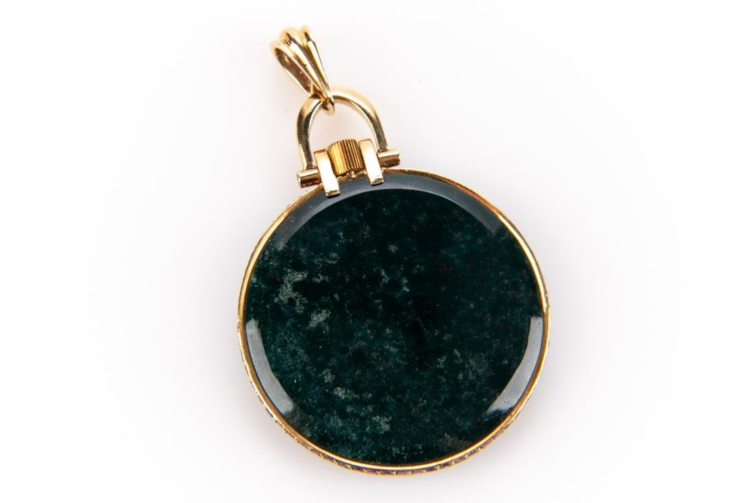 18K Gold, Bloodstone And Ruby Pocket Watch, By Cartier - 5