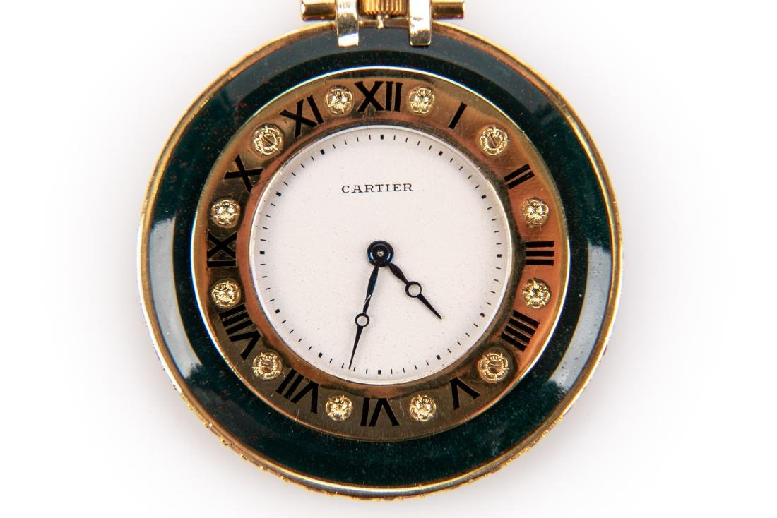 18K Gold, Bloodstone And Ruby Pocket Watch, By Cartier - 7