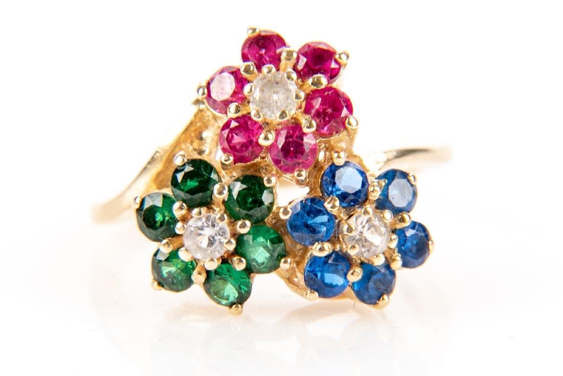 9bb55203e2324 14K Gold, Sapphire, Ruby, Emerald And Diamond Ring