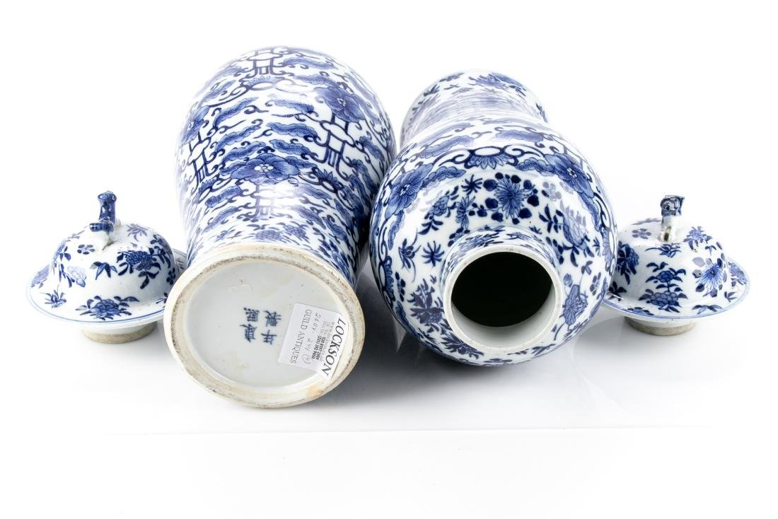 Pair Of Antique Chinese Blue & White Ginger Jars - 10