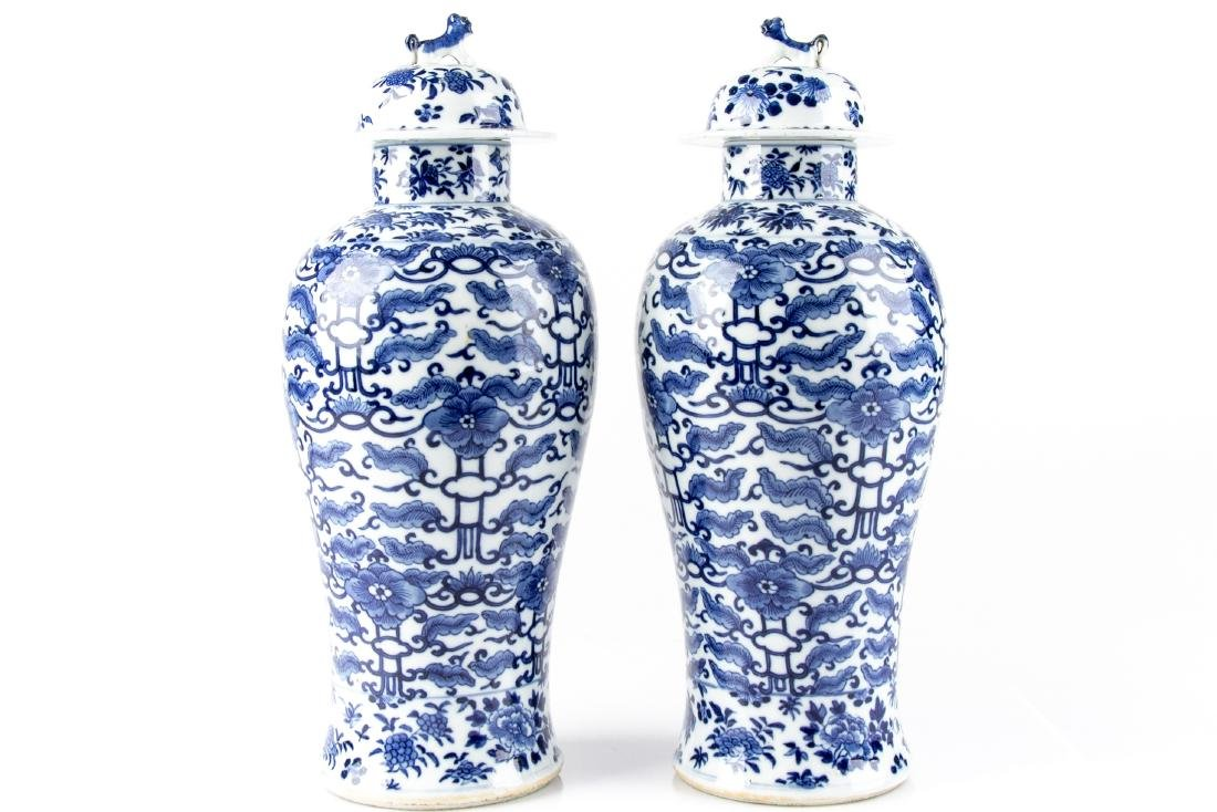 Pair Of Antique Chinese Blue & White Ginger Jars