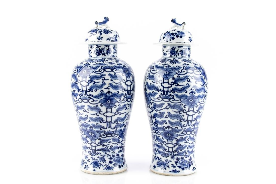 Pair Of Antique Chinese Blue & White Ginger Jars - 5