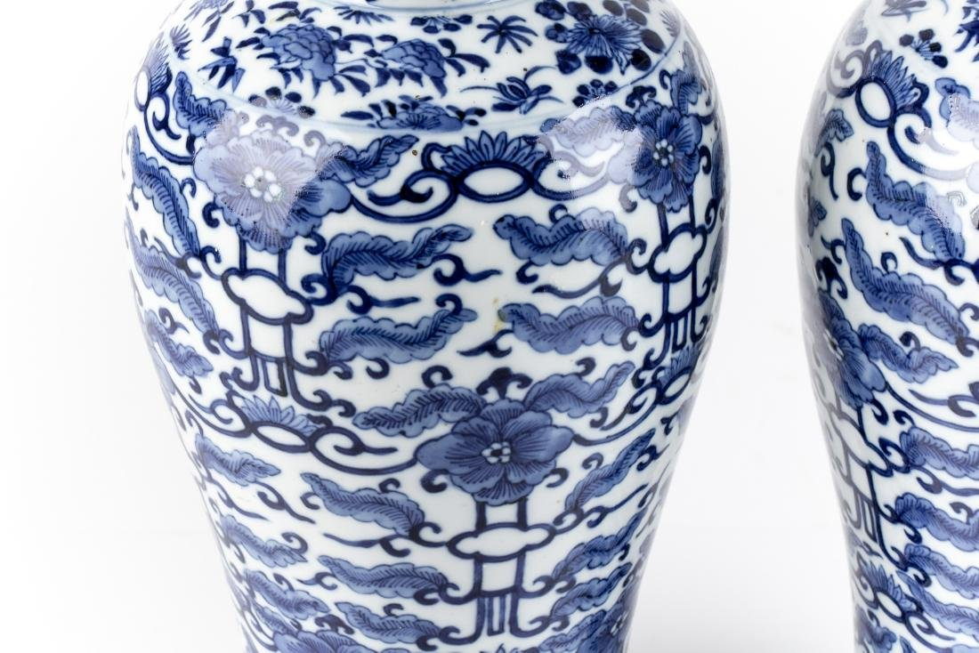 Pair Of Antique Chinese Blue & White Ginger Jars - 7