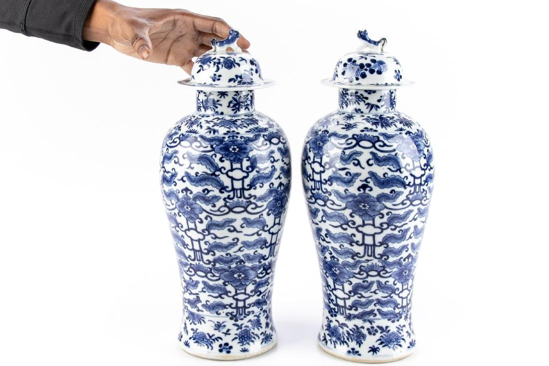 Pair Of Antique Chinese Blue & White Ginger Jars - 9