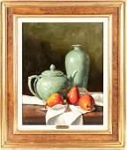 """Gregory Hull (Am., B 1950) """"Pears & Celadon"""" Still Life"""