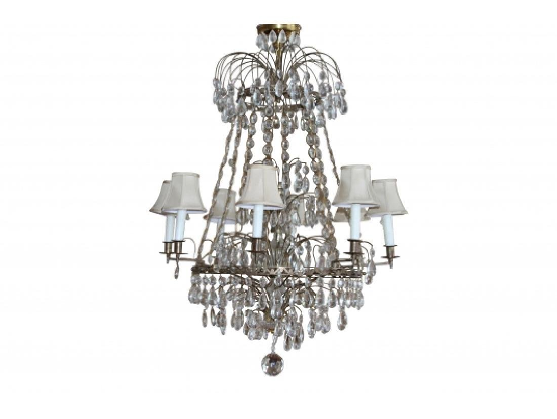 Antique Baltic Style Bronze And Crystal Chandelier