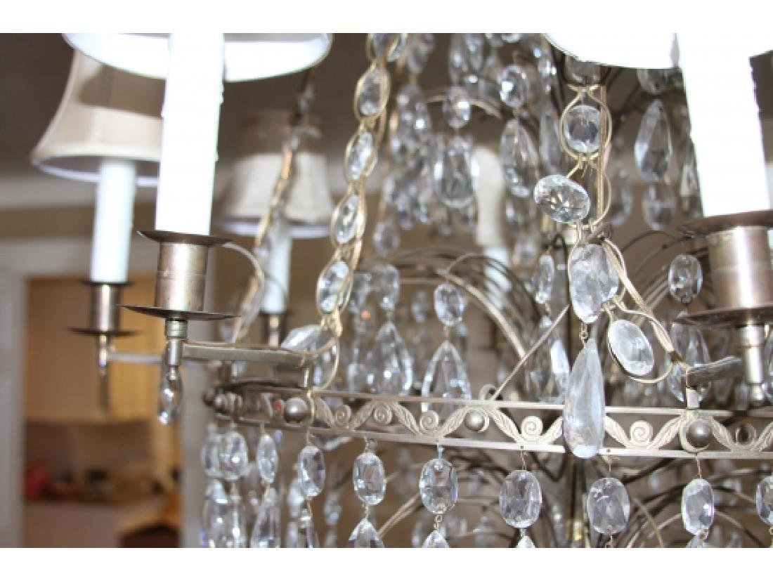 Antique Baltic Style Bronze And Crystal Chandelier - 2