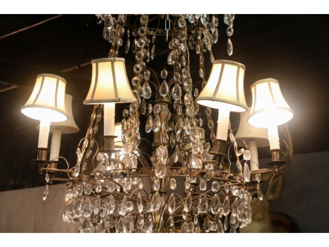 Antique Baltic Style Bronze And Crystal Chandelier - 9
