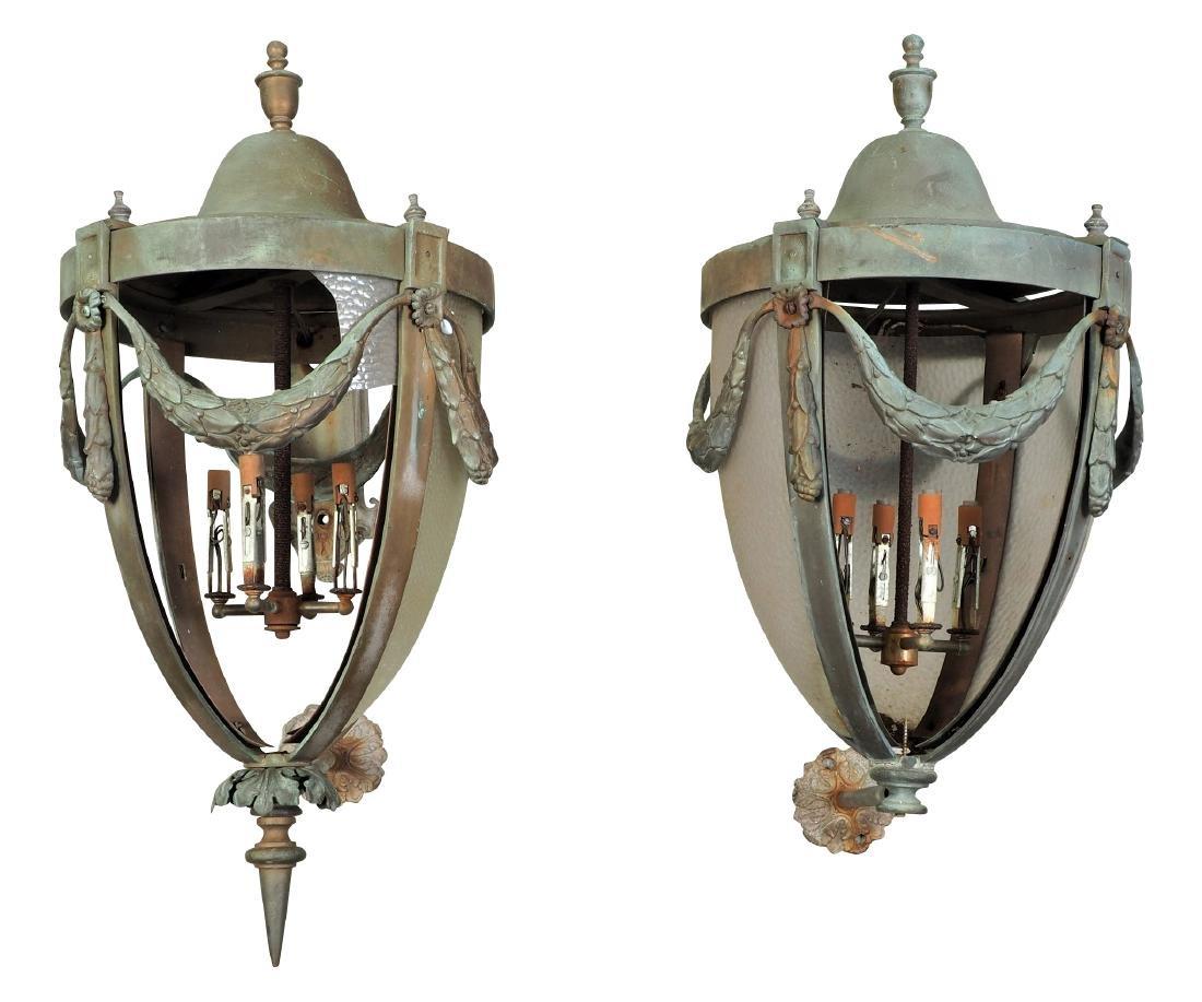 Pair Of Large Bronze Outdoor Lanterns - Restoration