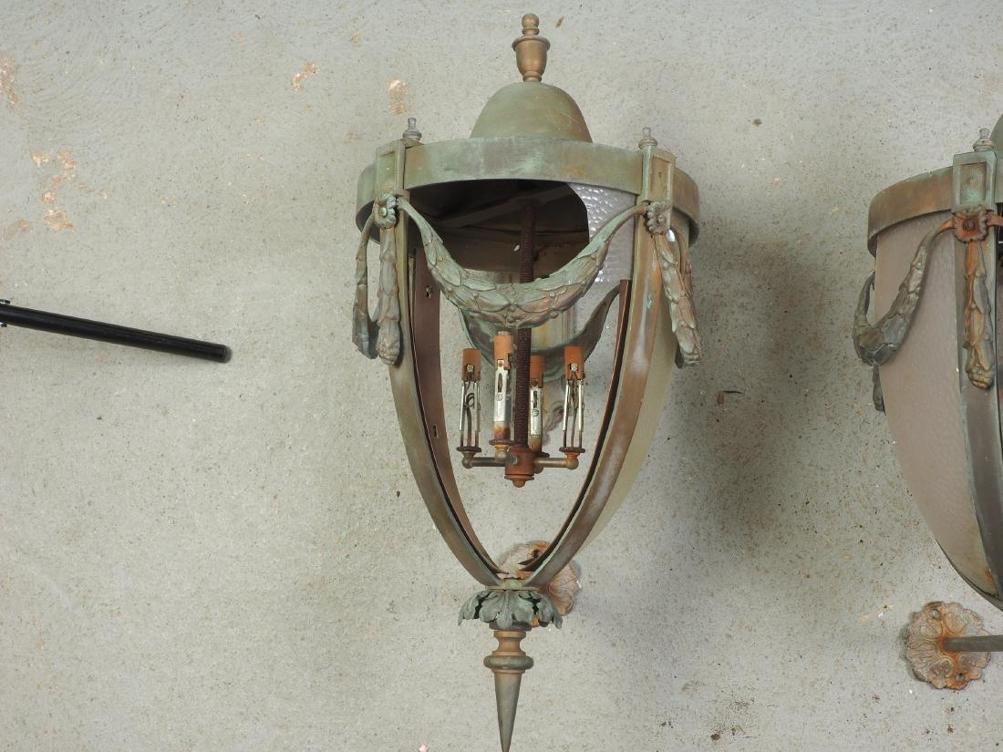 Pair Of Large Bronze Outdoor Lanterns - Restoration - 2