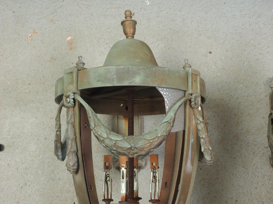 Pair Of Large Bronze Outdoor Lanterns - Restoration - 3