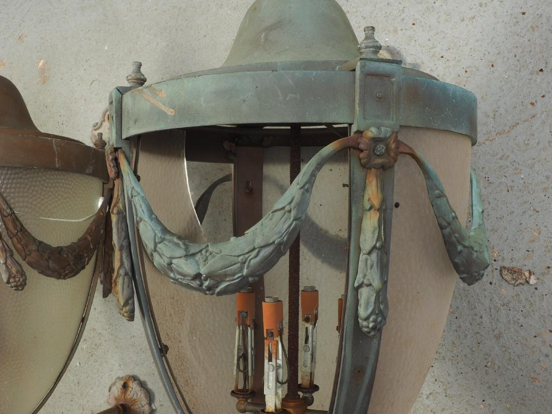Pair Of Large Bronze Outdoor Lanterns - Restoration - 6