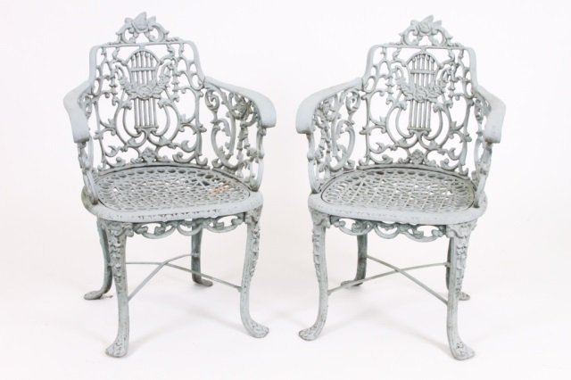 PAIR OF ORNATE OUTDOOR ACCENT CHAIRS