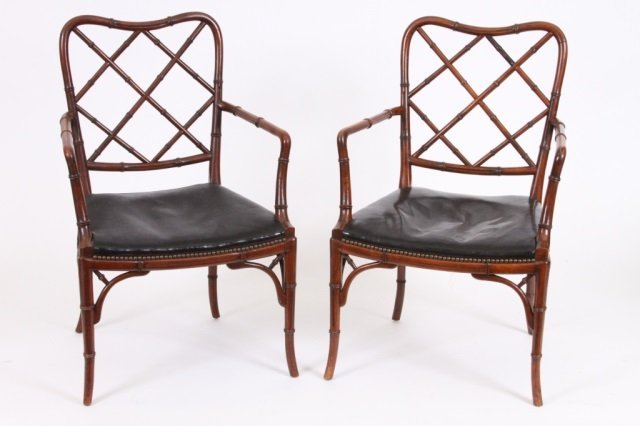 PAIR OF REGENCY STYLE ARM CHAIRS