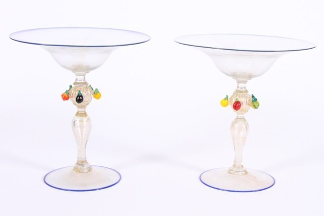 PAIR OF MURANO GLASS COMPOTES