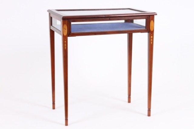 EDWARDIAN INLAID VITRINE TABLE