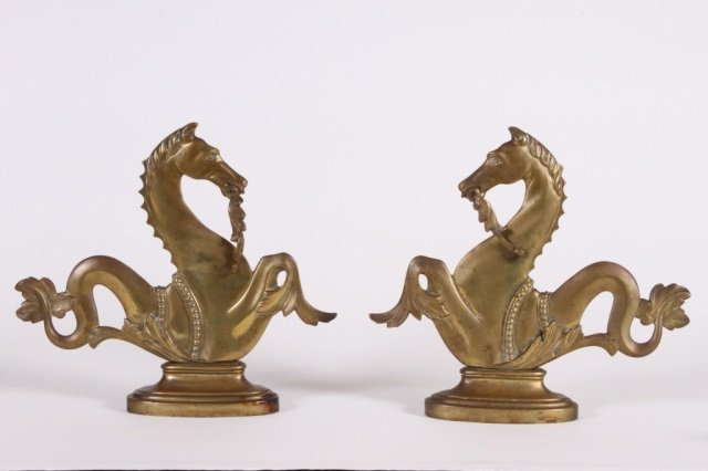 PAIR OF BRASS HIPPOCAMPUS GONDOLA ORNAMENTS