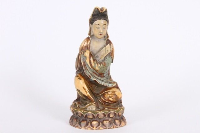 LATE QING CARVED IVORY GUANYIN