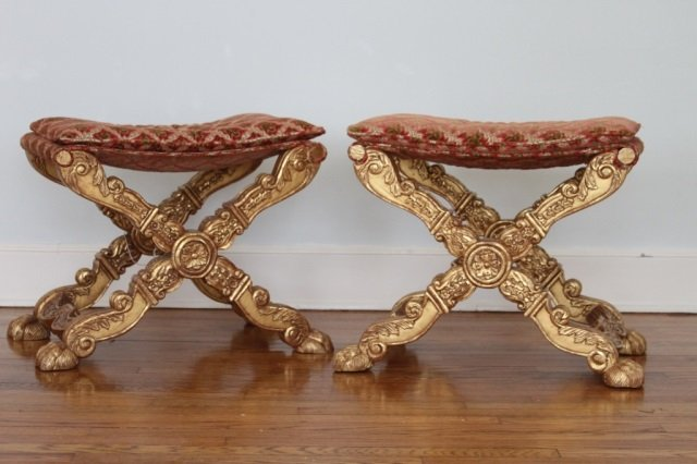 EMPIRE STYLE PAIR OF BENCHES