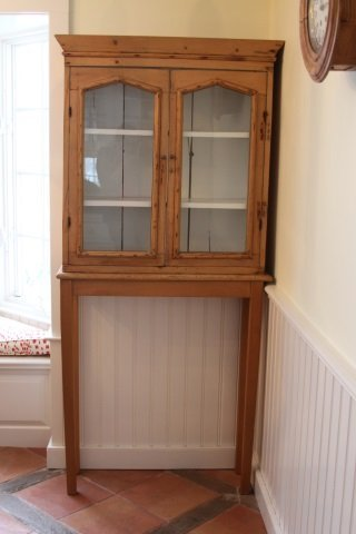 ANTIQUE PINE CABINET ON STAND