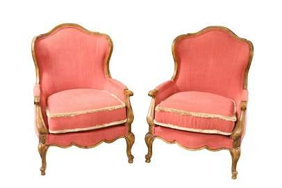 PAIR OF FRENCH PROVINICAL STYLE CLUB CHAIRS