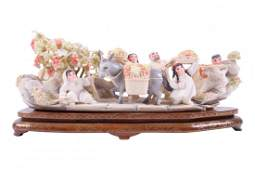 """Contemporary Chinese Carved Ivory Figural Group """"The"""