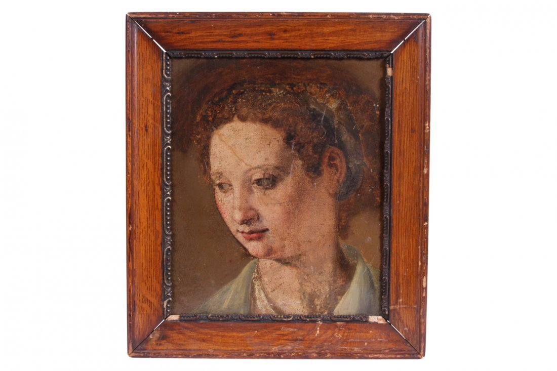 Fragmented 17th / 18th Century Oil On paper, Portrait