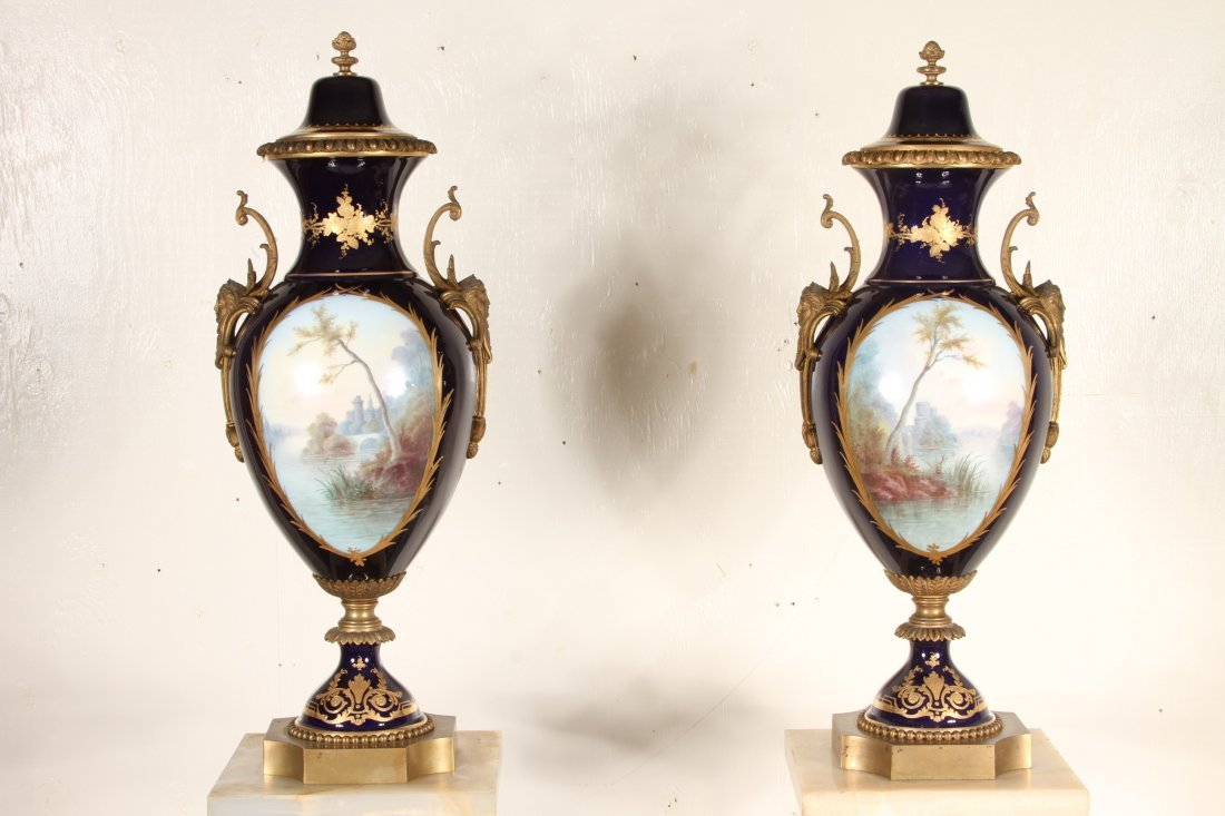 Pair Of antique Monumental Sevres Urns With Pedestals - 2