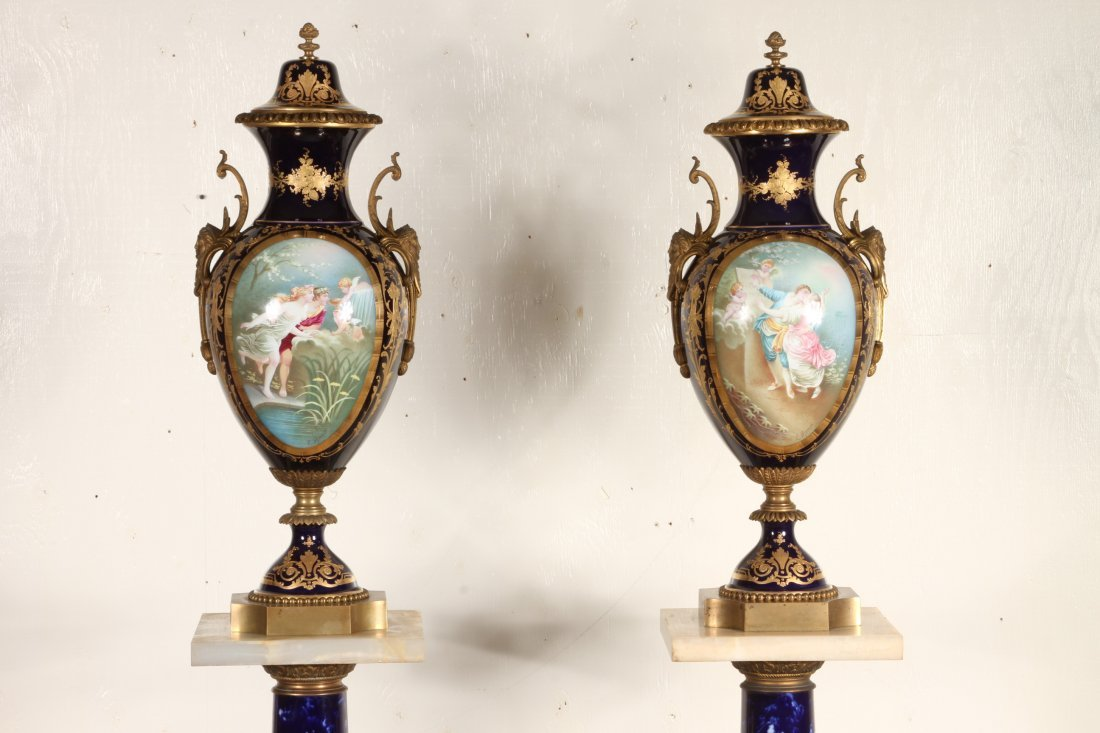 Pair Of antique Monumental Sevres Urns With Pedestals - 3