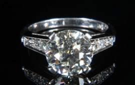 3.93 Carat Diamond Engagement Ring, Set In Platinum