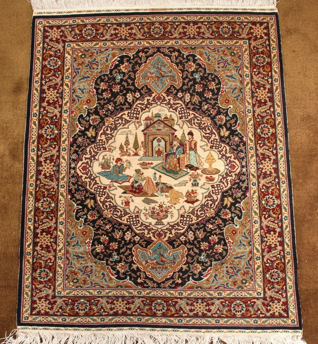 Turkish Finely Woven Silk Prayer Mat, Artist Signed - 2