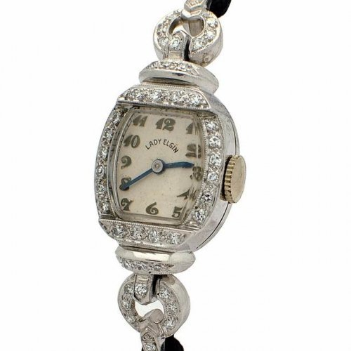 VINTAGE LADY ELGIN PLATINUM DRESS WATCH -WL1821