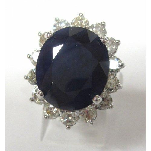 14K W/G SAPPHIRE AND DIAMOND RING