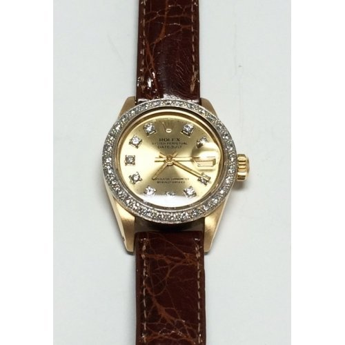 ROLEX LADIES DATE-JUST OYSTER PERPETUAL 18K GOLD WATCH