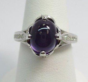18K W/G AMATHIST AND DIAMOND RING