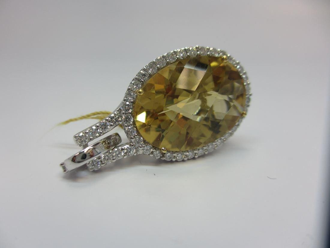 18k W/G CITRINE AND DIAMOND PENDANT