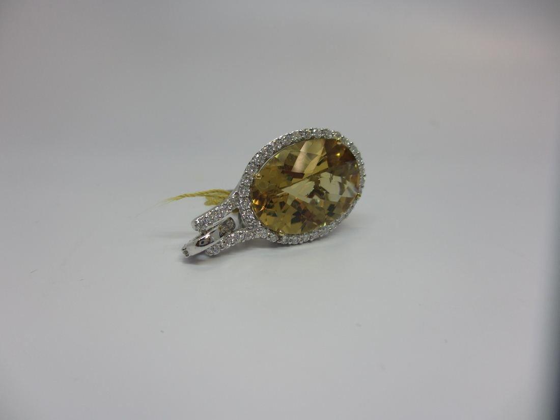 18k W/G CITRINE AND DIAMOND PENDANT - 2