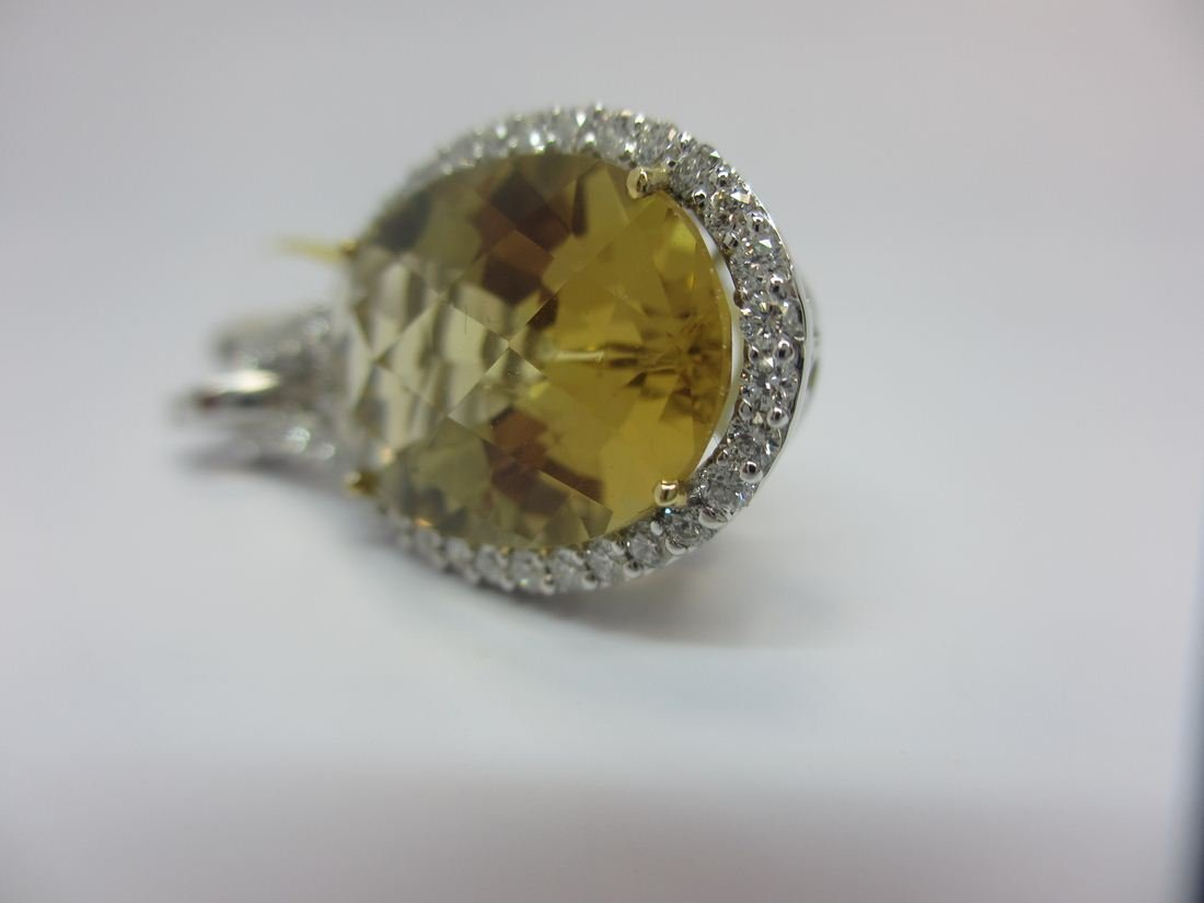 18k W/G CITRINE AND DIAMOND PENDANT - 3