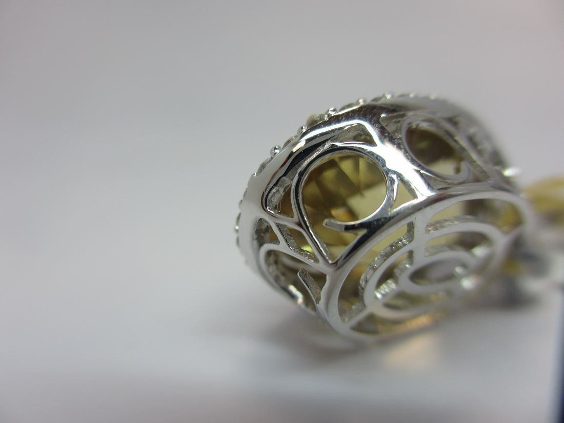 18k W/G CITRINE AND DIAMOND PENDANT - 4