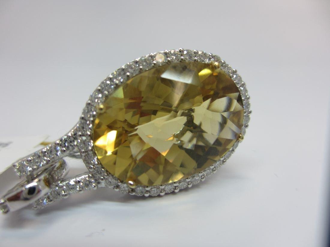 18k W/G CITRINE AND DIAMOND PENDANT - 5