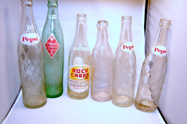 Assortment of Vintage Bottles Pepsi and others