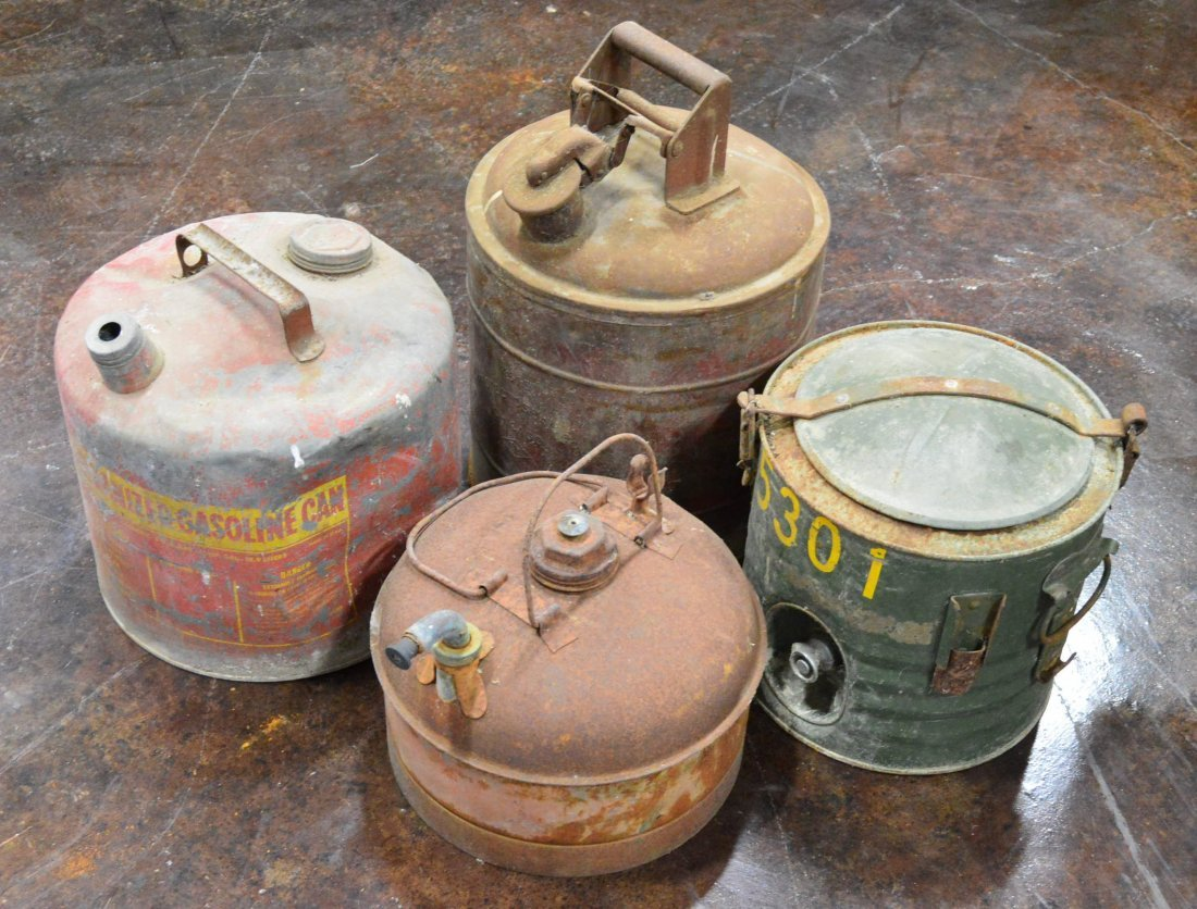 Lot of 4 Aluminum Gas & Kerosene Cans