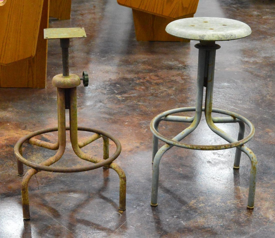 Lot of 2 Cast Aluminum Industrial Stools